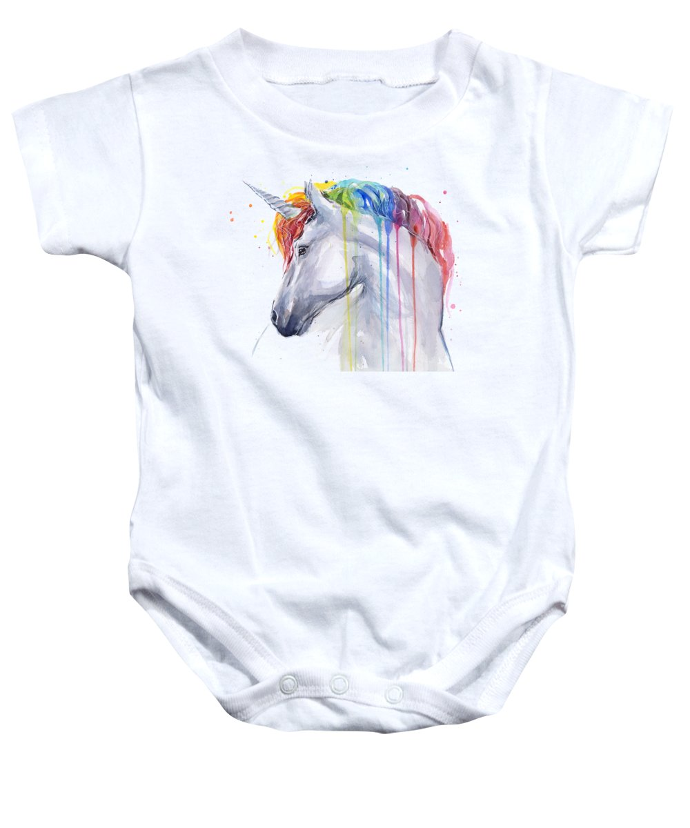 Magical Baby Onesie featuring the painting Unicorn Rainbow Watercolor by Olga Shvartsur