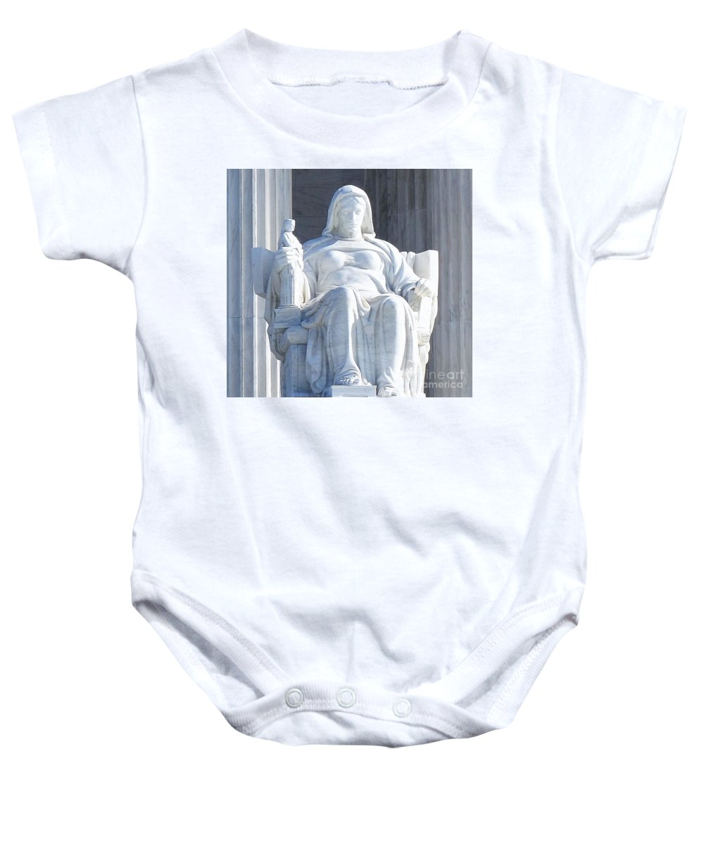 United States Supreme Court Baby Onesie featuring the photograph United States Supreme Court, The Contemplation Of Justice Statue, Washington, Dc 2 by Anthony Schafer