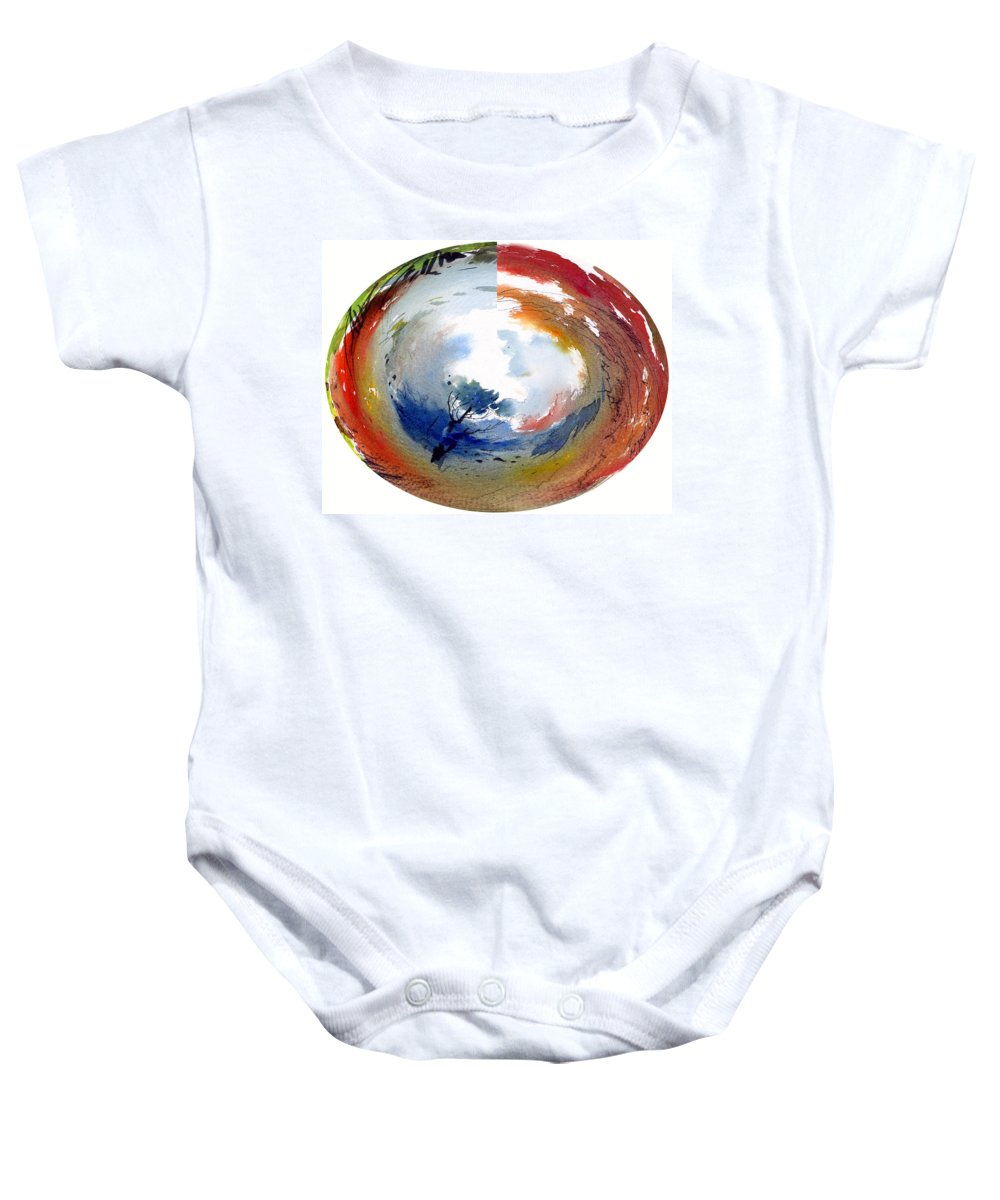 Landscape Water Color Watercolor Digital Mixed Media Baby Onesie featuring the painting Universe by Anil Nene