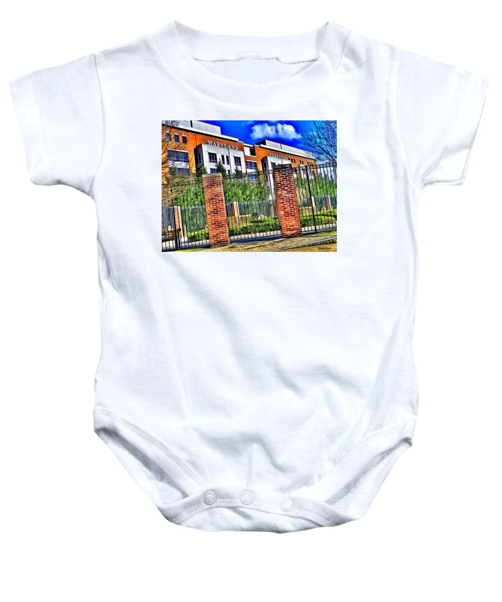 University Baby Onesie featuring the digital art University Of Maryland - Byrd Stadium by Stephen Younts