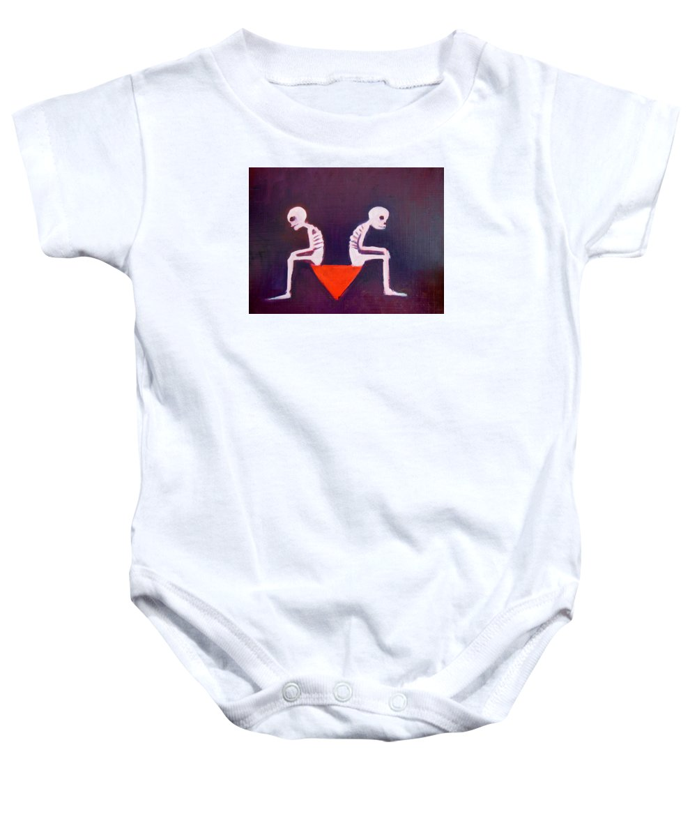 Death Baby Onesie featuring the painting Until Death Do Us Part by Bonita Barlow