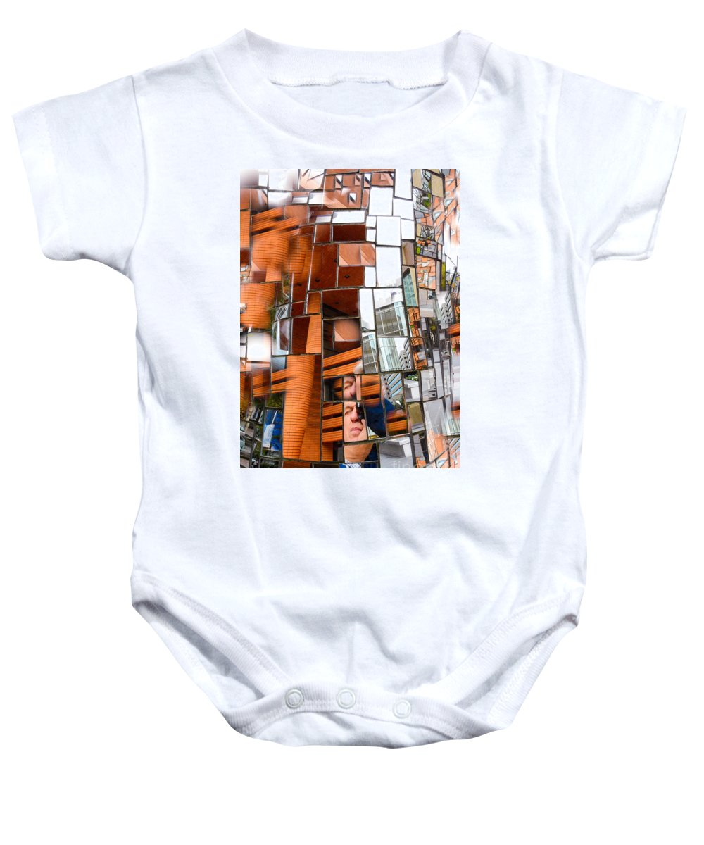 Reflected Abstractions Of Urban Shapes Baby Onesie featuring the photograph Urban Geometry 1 by Thomas Carroll
