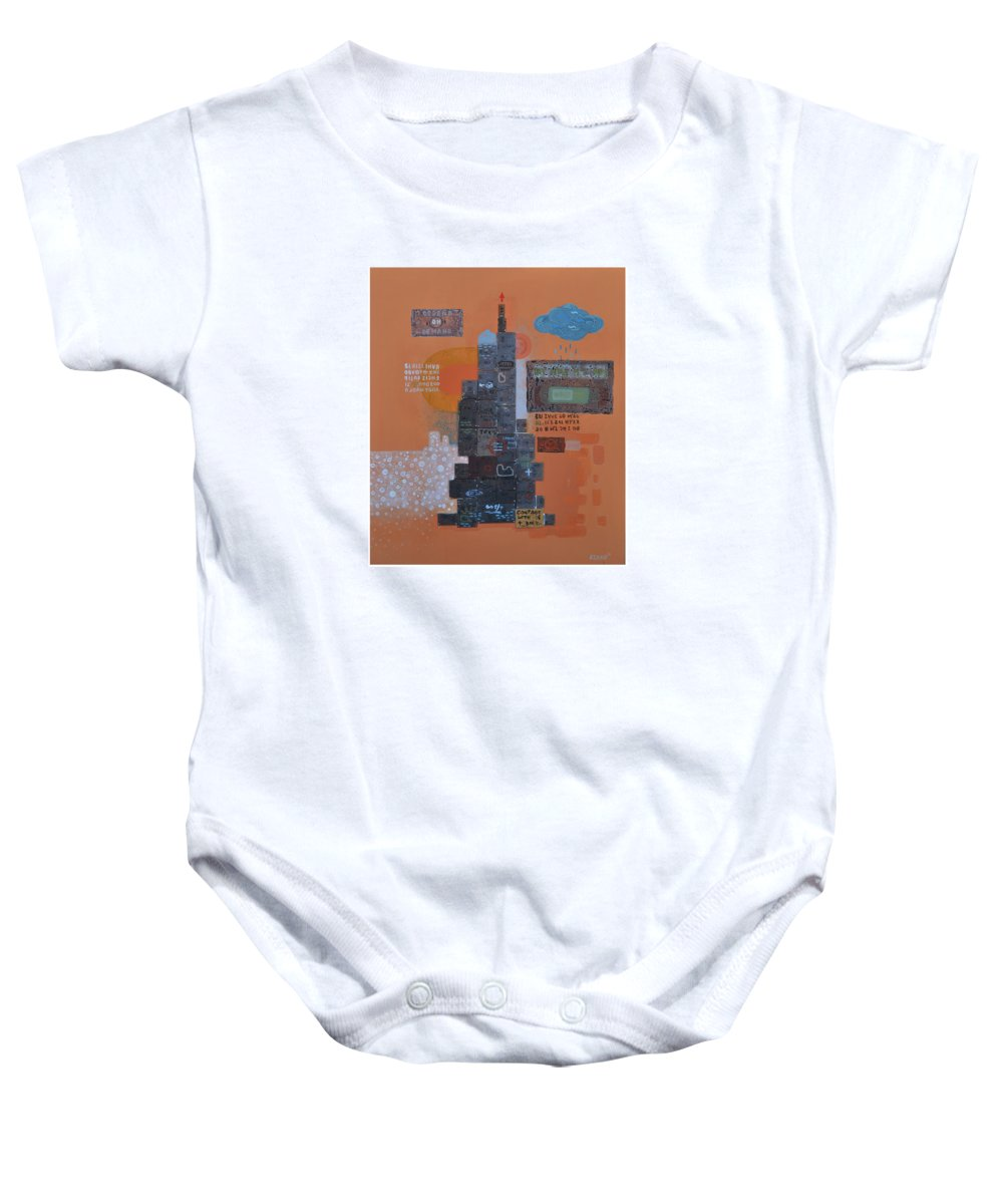 Abstract Baby Onesie featuring the painting Urbanization Xiv by Bhuneshwar Azaad