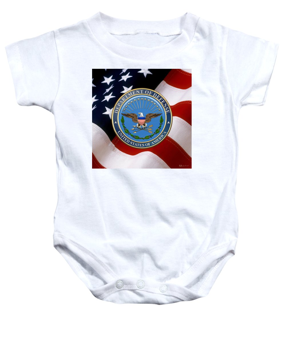 'military Insignia & Heraldry 3d' Collection By Serge Averbukh Baby Onesie featuring the digital art U. S. Department Of Defense - D O D Emblem Over U. S. Flag by Serge Averbukh