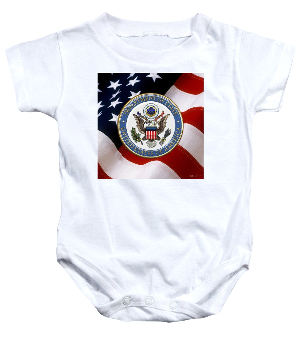 'military Insignia & Heraldry 3d' Collection By Serge Averbukh Baby Onesie featuring the digital art U. S. Department Of State - Dos Emblem Over U.s. Flag by Serge Averbukh