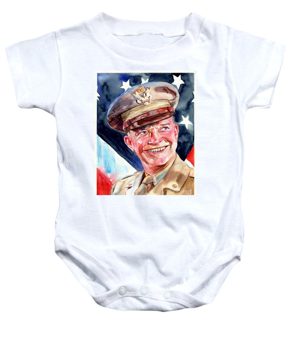 Dwight Baby Onesie featuring the painting Us General Dwight D. Eisenhower by Suzann Sines