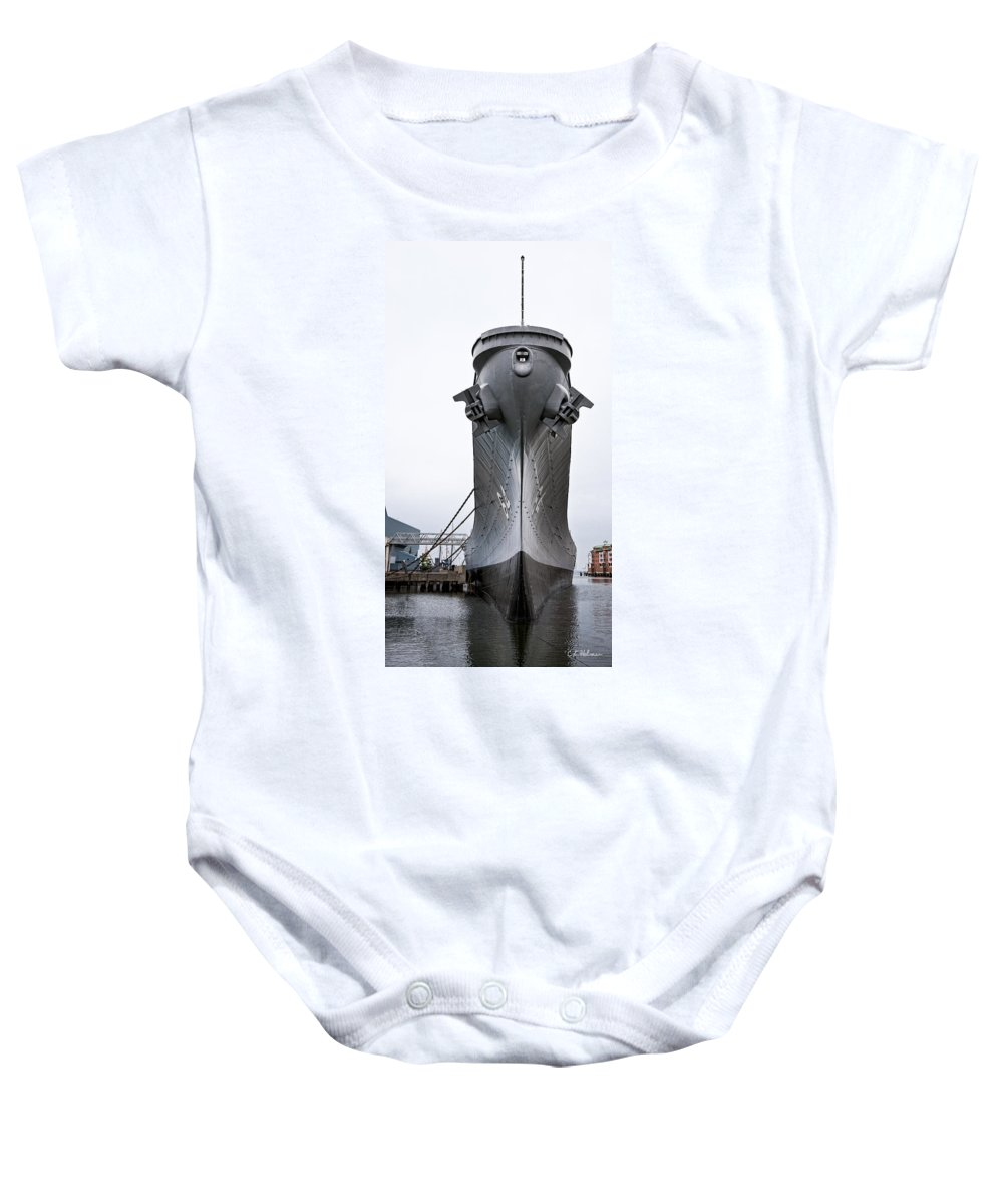 Ship Baby Onesie featuring the photograph Uss Wisconsin - Head-on by Christopher Holmes