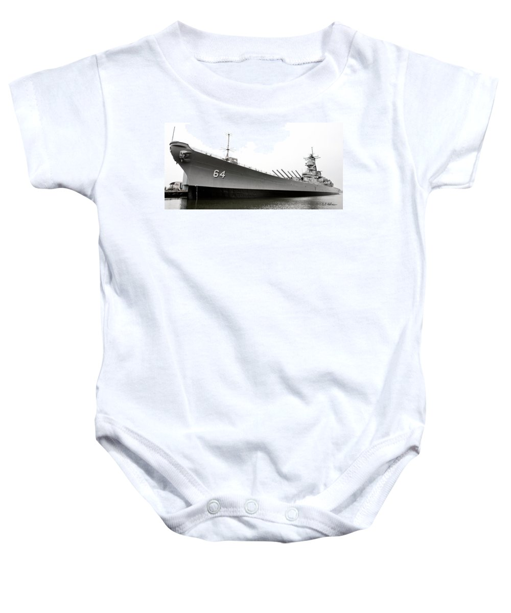 Ship Baby Onesie featuring the photograph Uss Wisconsin - Port-side by Christopher Holmes