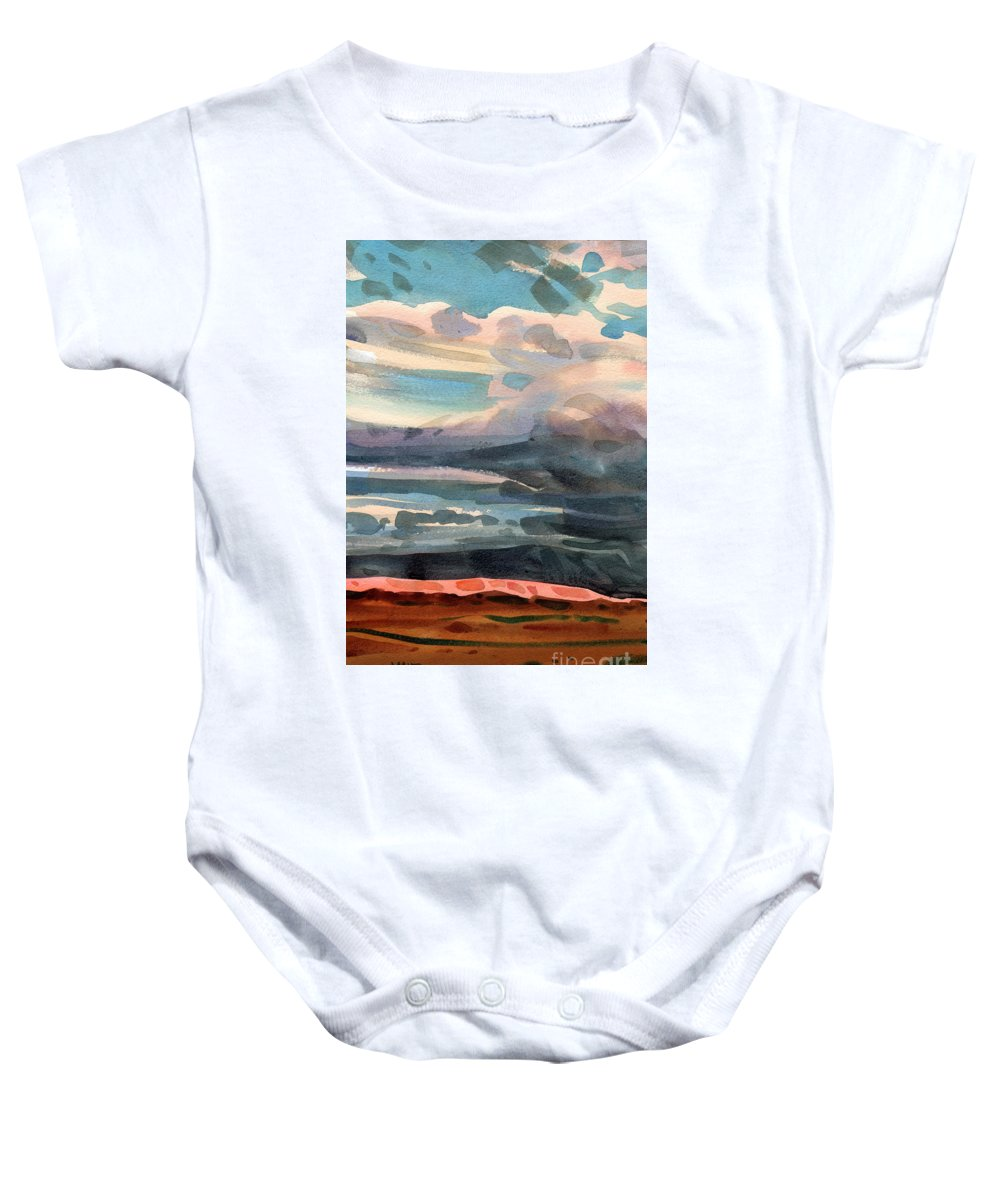 Western Landscape Baby Onesie featuring the painting Utah Skyline by Donald Maier