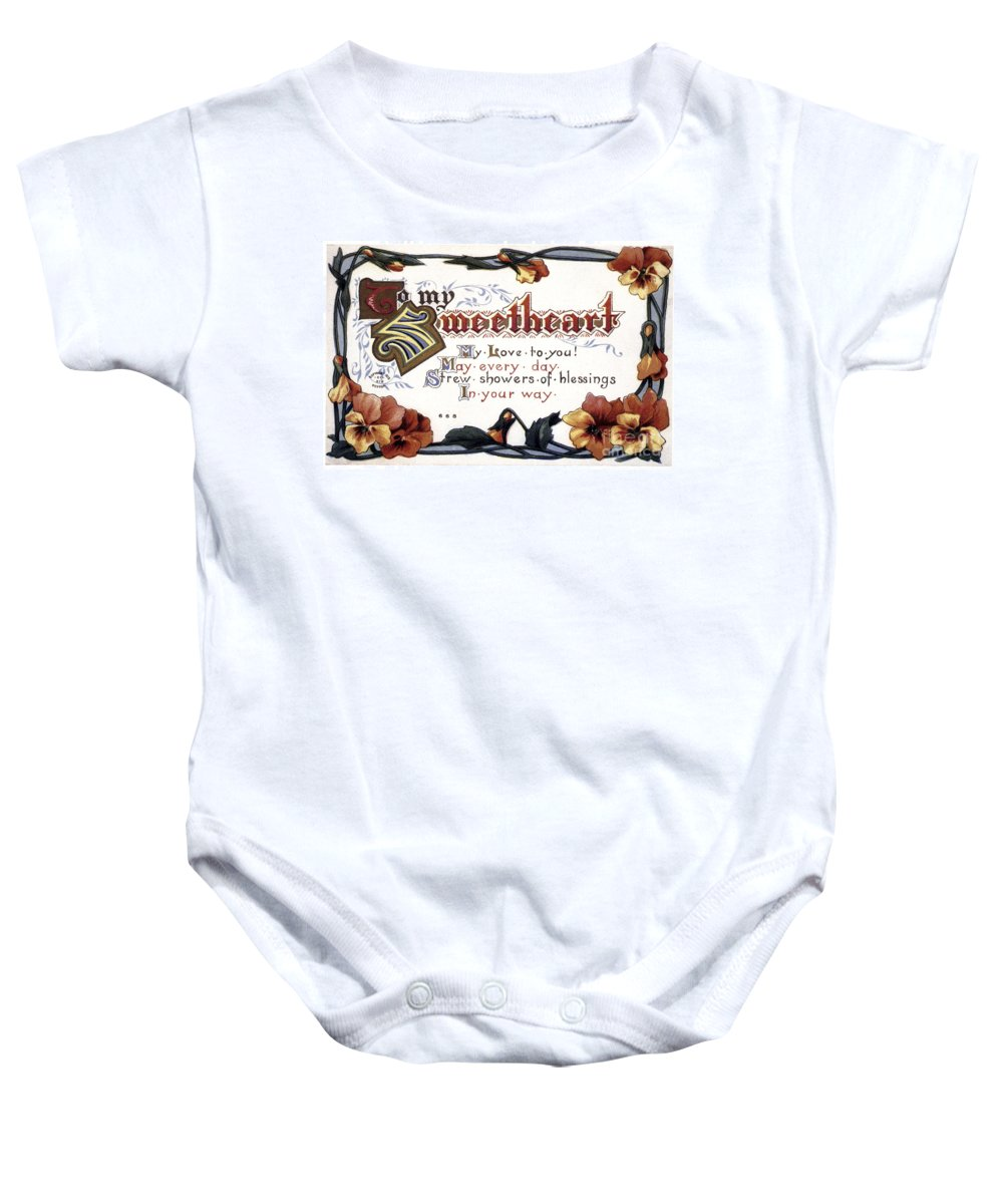 1910 Baby Onesie featuring the photograph Valentines Day Card, 1910 by Granger