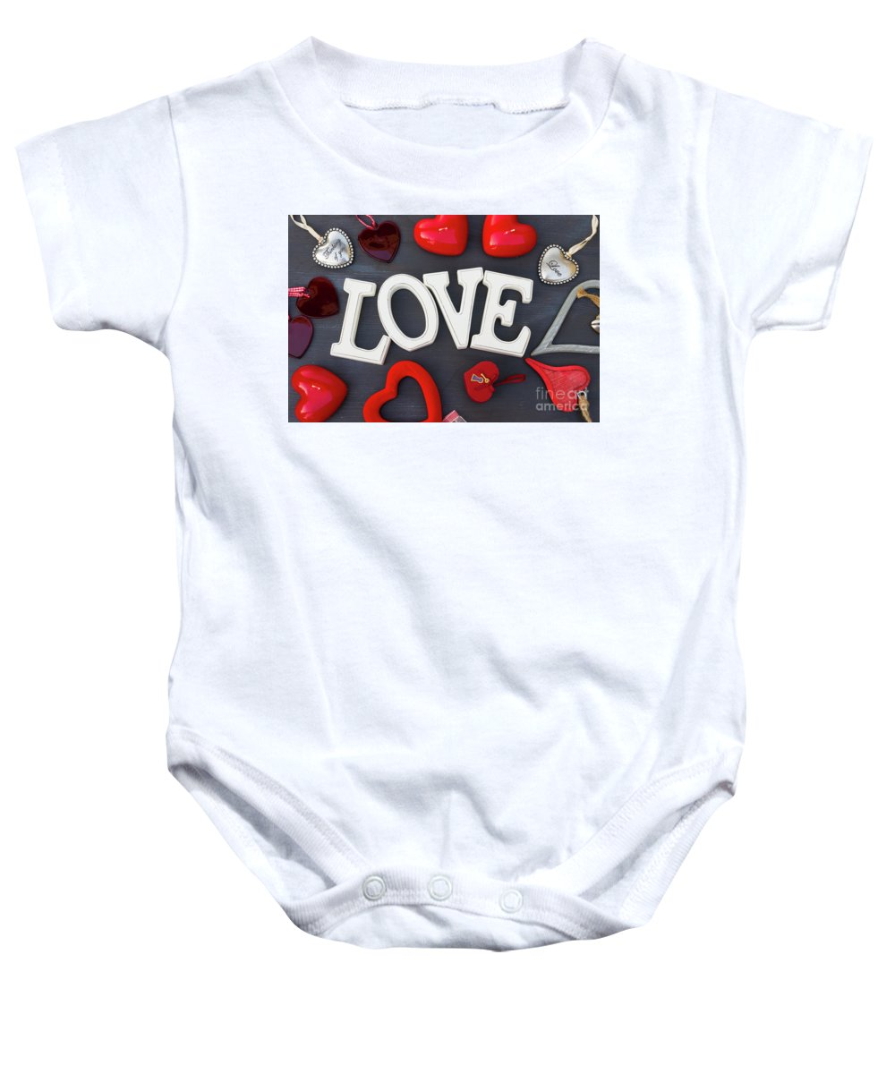 Valentines Baby Onesie featuring the photograph Valentines Day Hearts by Anastasy Yarmolovich