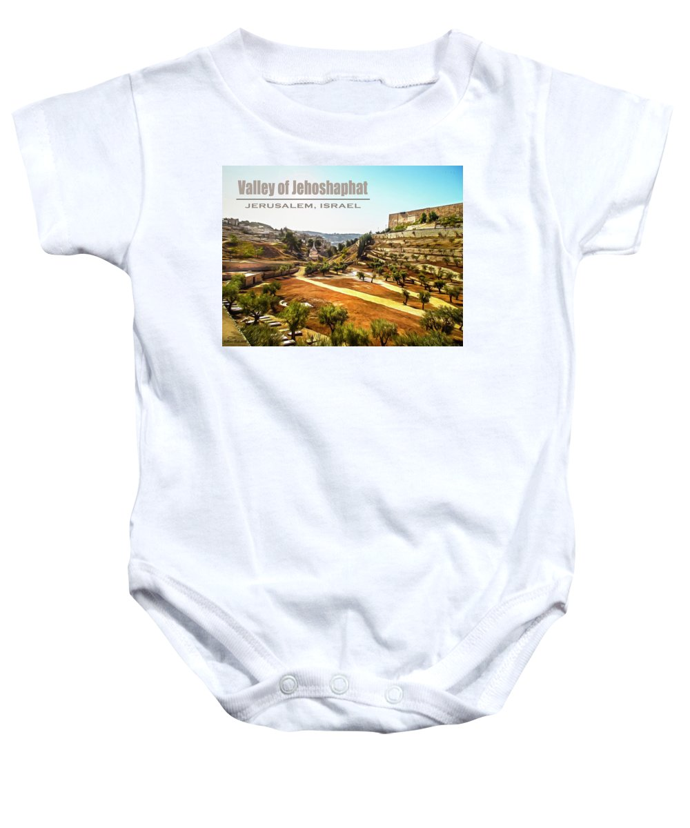 Photopainting Baby Onesie featuring the digital art Valley Of Jehoshaphat, Jerusalem, Israel by Brian Tada