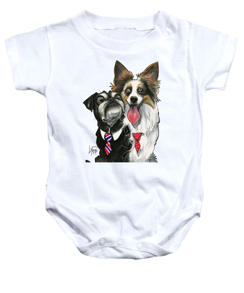 Pet Portrait Baby Onesie featuring the drawing Vannostrand 7-1484 by John LaFree