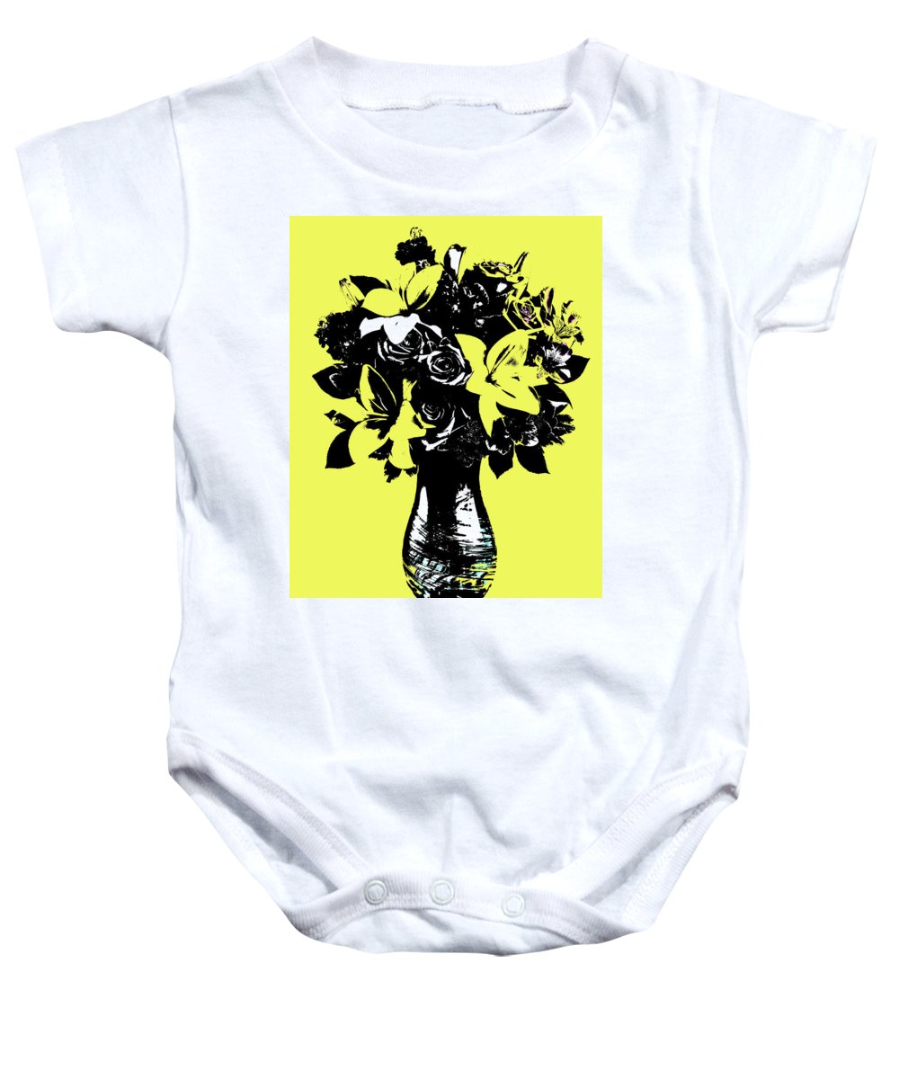 Pop Art Baby Onesie featuring the painting Vase Of Flowers by Rob Prince