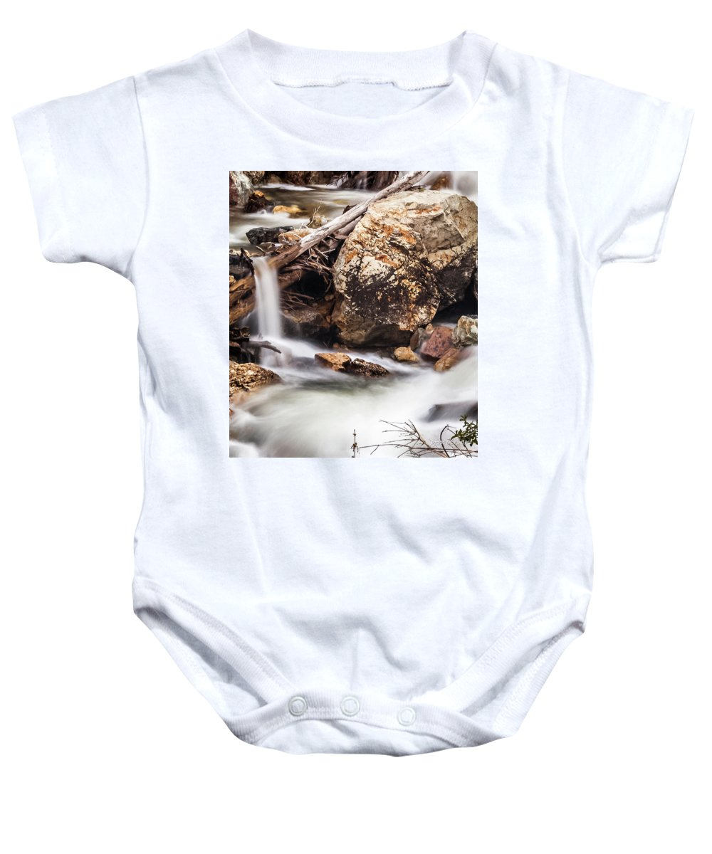 Streams Baby Onesie featuring the photograph Velvet Falls - Rocky Mountain Stream by Steven Milner