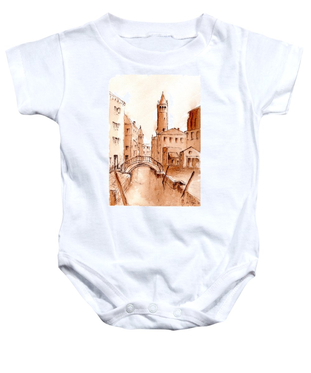 Venice Baby Onesie featuring the mixed media Venice Backwater by Pam Taylor