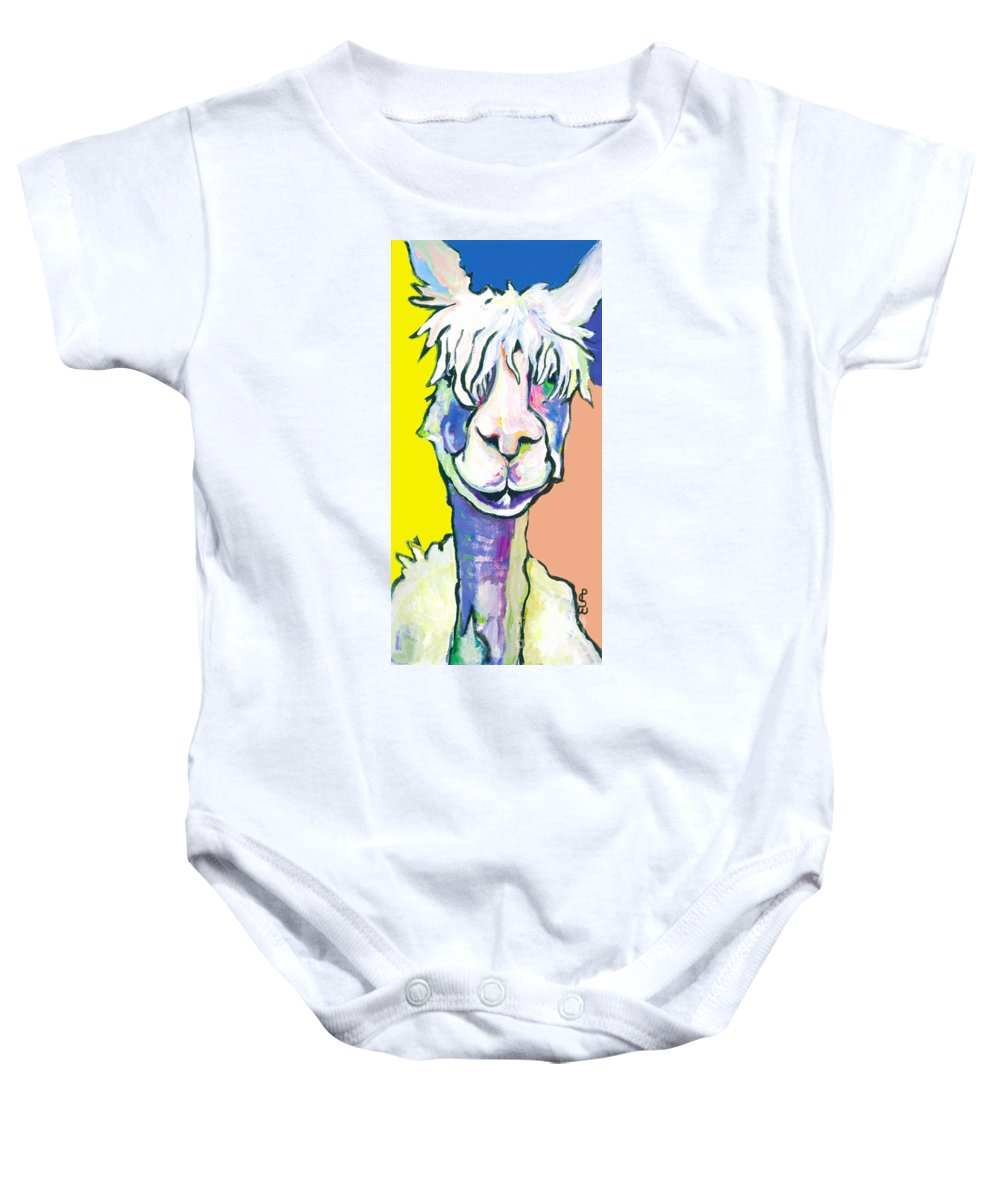 Mountain Animal Baby Onesie featuring the painting Veronica by Pat Saunders-White