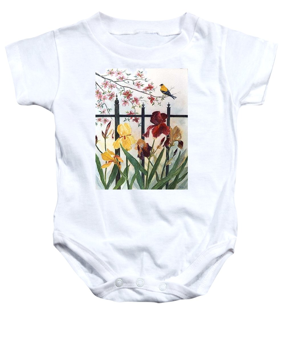 Irises; American Goldfinch; Dogwood Tree Baby Onesie featuring the painting Victorian Garden by Ben Kiger