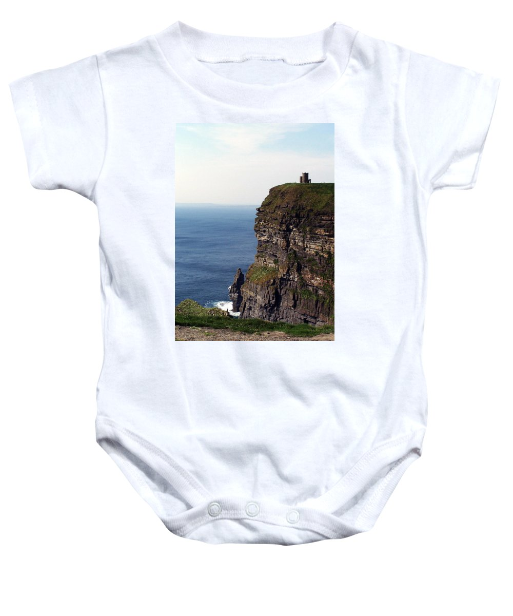 Irish Baby Onesie featuring the photograph View Of Aran Islands And Cliffs Of Moher County Clare Ireland by Teresa Mucha