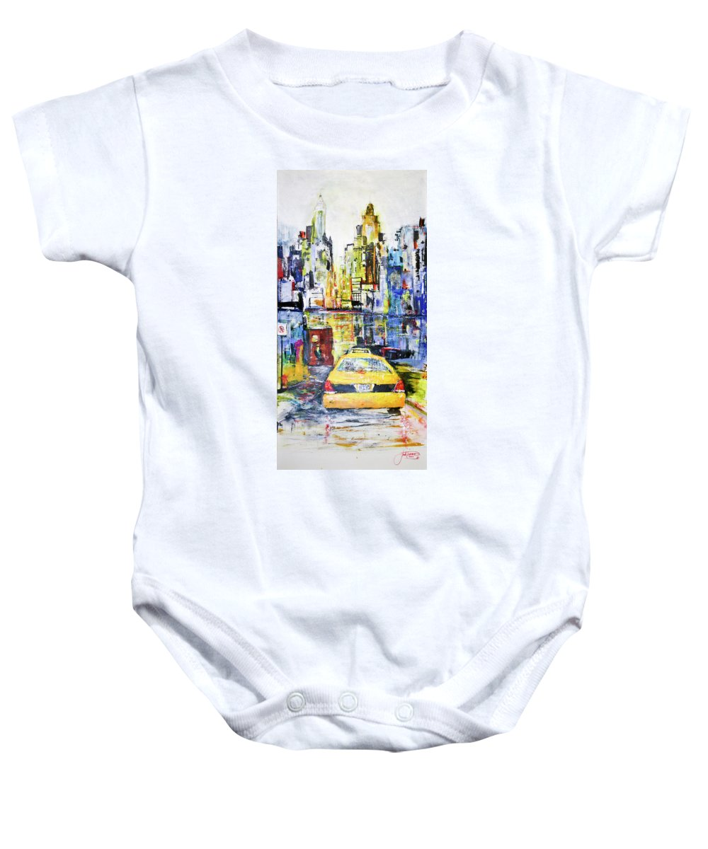 Taxi Baby Onesie featuring the painting View To Manhattan by Jack Diamond