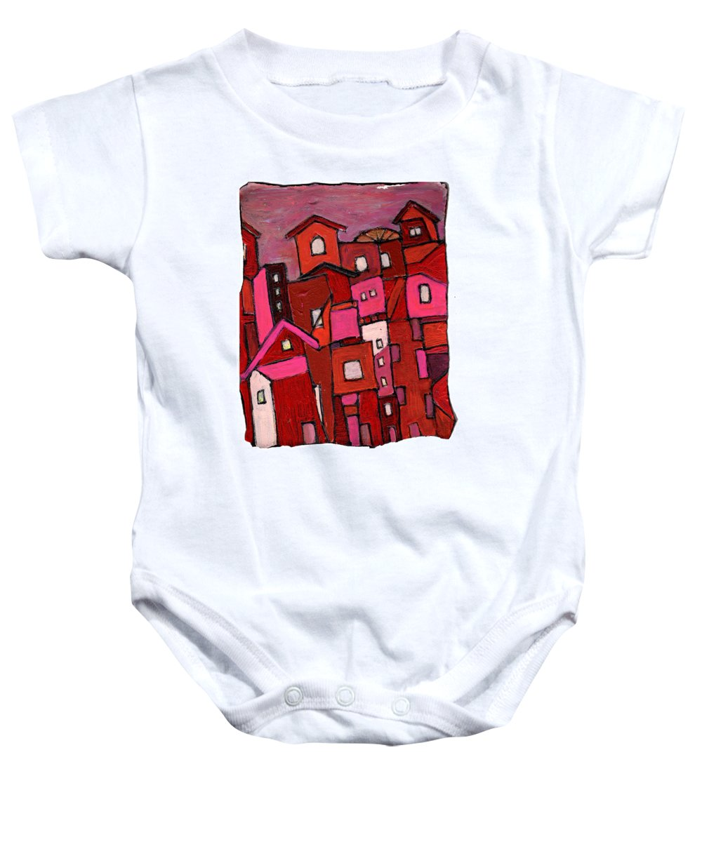 Village Baby Onesie featuring the painting Village In Pink by Wayne Potrafka
