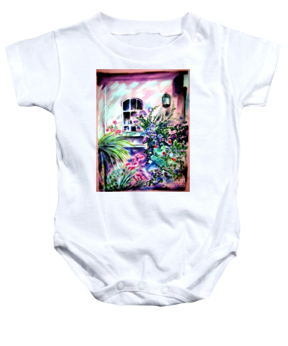 Vineyard Baby Onesie featuring the pastel Vineyard Patio by Sandy Ryan