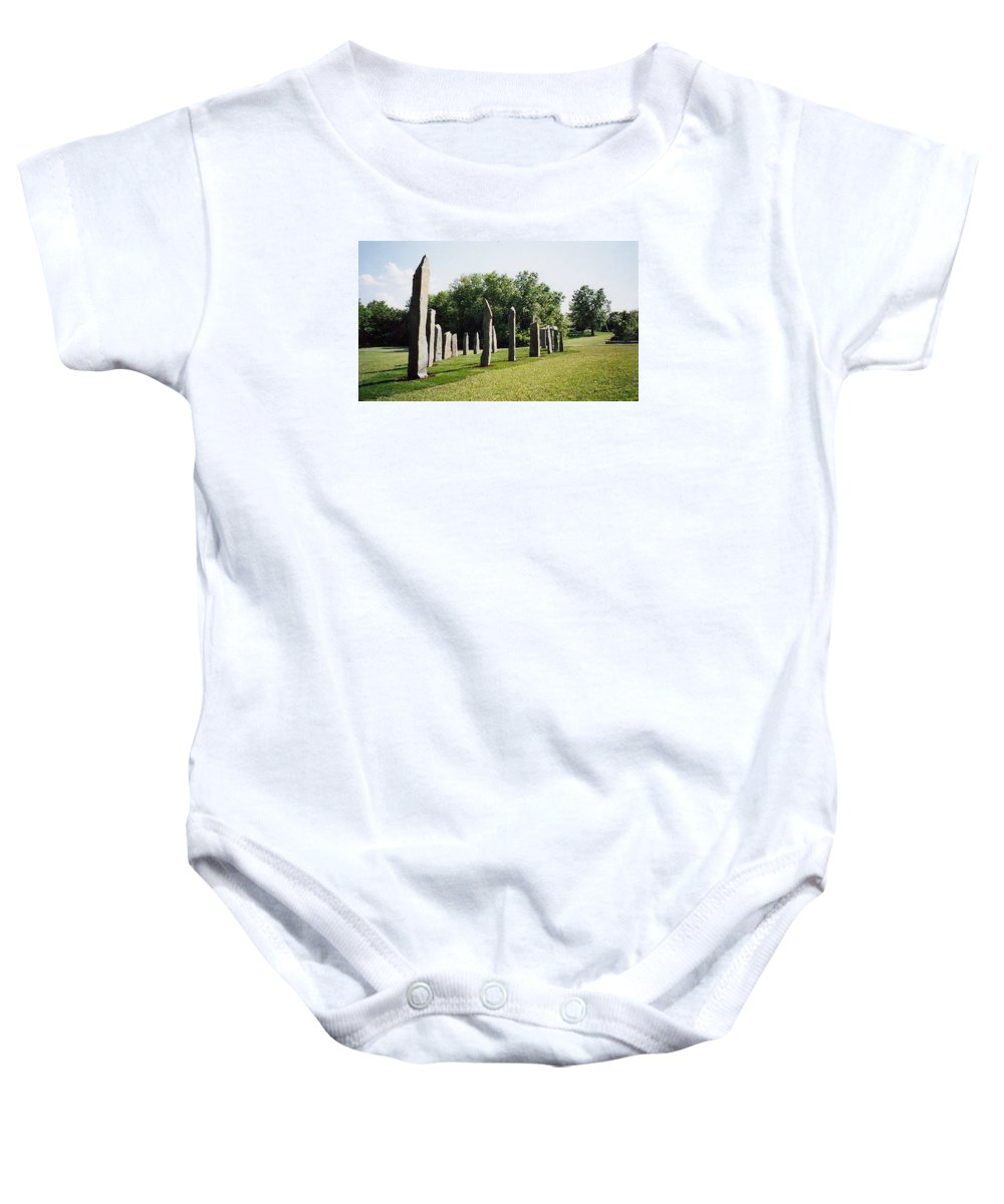 Historic Sculpture From 1999 Baby Onesie featuring the sculpture Vinland by Jarle Rosseland