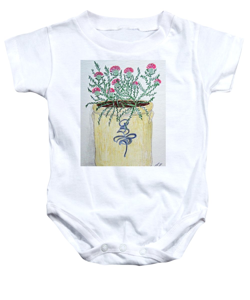 Vintage Baby Onesie featuring the painting Vintage Bee Sting Crock And Thistles by Kathy Marrs Chandler