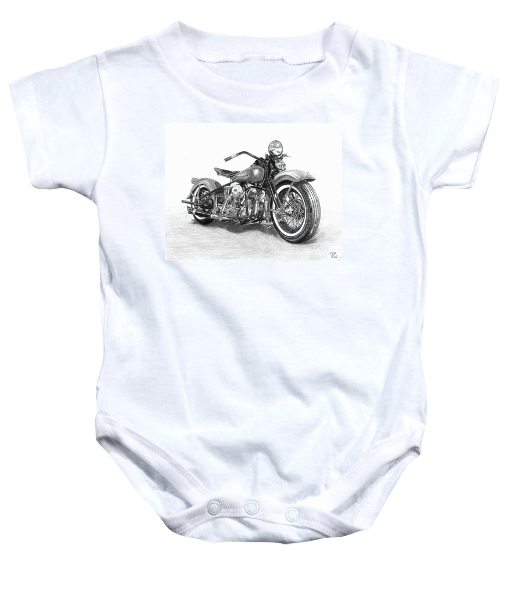 Drawing Drawings Baby Onesie featuring the drawing Vintage Panhead by Francois Michaud