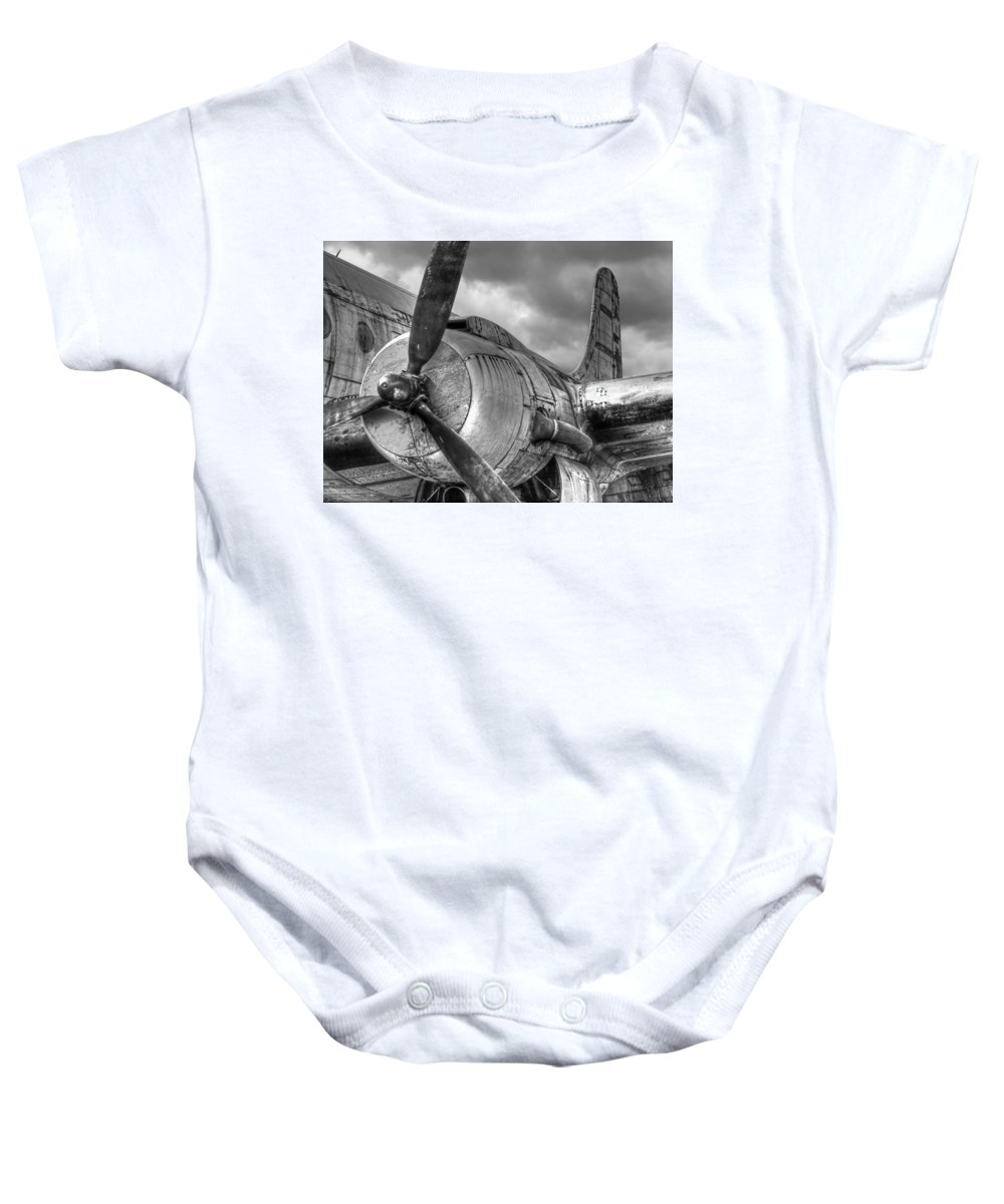 Black And White Aviation Baby Onesie featuring the photograph Vintage Prop - Black And White by Gill Billington