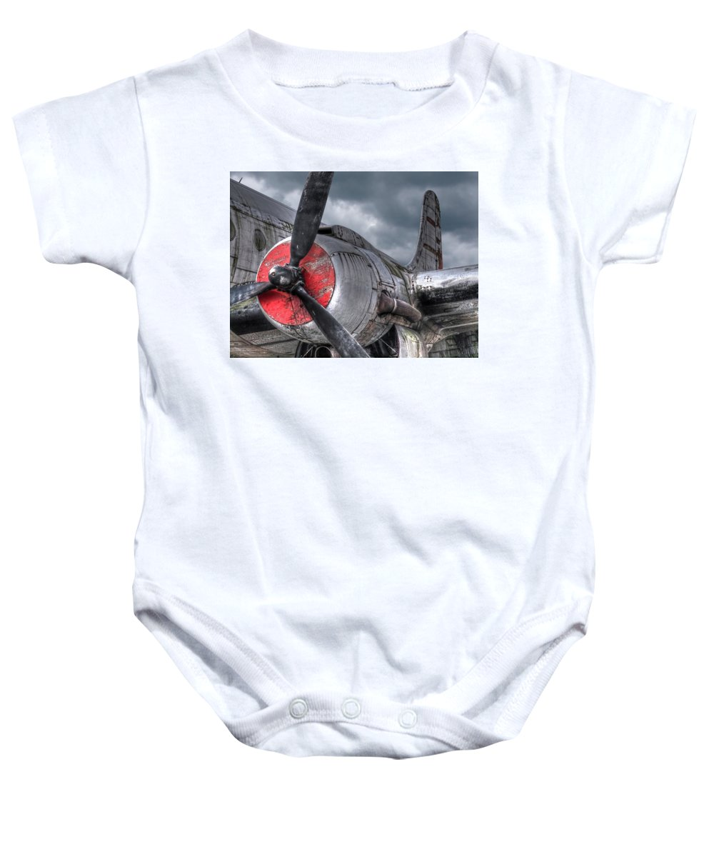 Aviation Baby Onesie featuring the photograph Vintage Prop by Gill Billington
