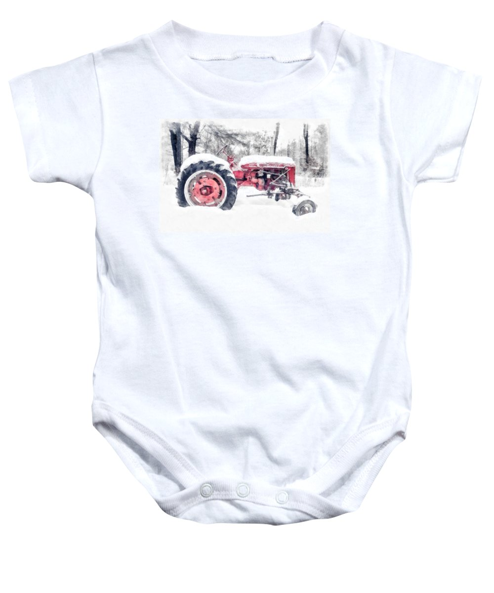 Christmas Baby Onesie featuring the photograph Vintage Tractor Christmas by Edward Fielding