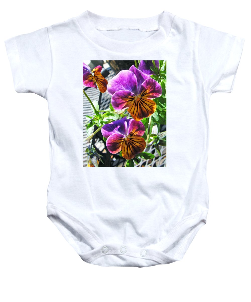 Nature Baby Onesie featuring the photograph Violas by Lizi Beard-Ward