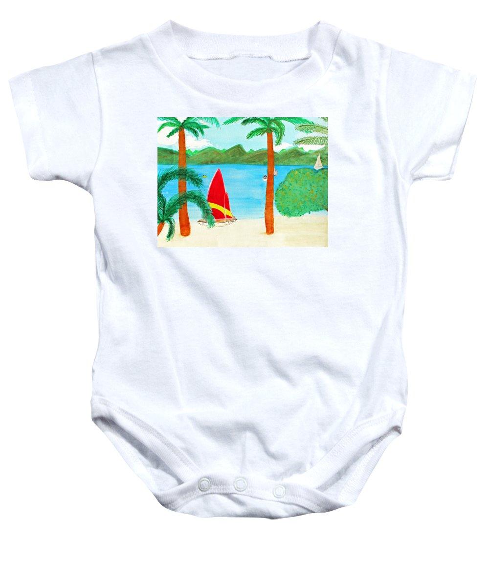 Art Baby Onesie featuring the painting Virgin Island Memories by Lee Serenethos