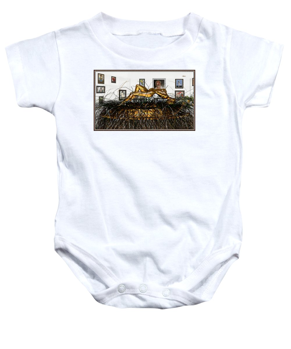 Modern Painting Baby Onesie featuring the mixed media Virtual Exhibition With Birthday Cake by Pemaro