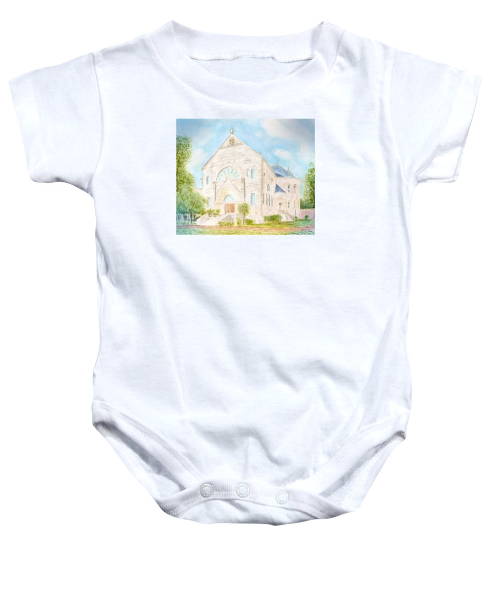 Monastery Baby Onesie featuring the painting Visitation Monastery Mobile Alabama by Jerry Fair