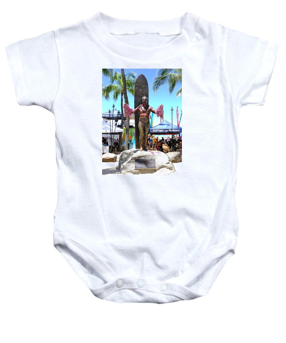 Statues Baby Onesie featuring the photograph Waikiki Statue - Duke Kahanamoku by Mary Deal