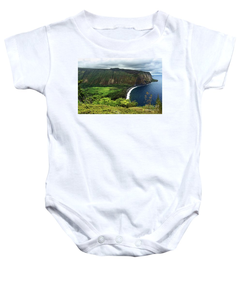 Cliff Baby Onesie featuring the photograph Waipio Valley by James Eddy