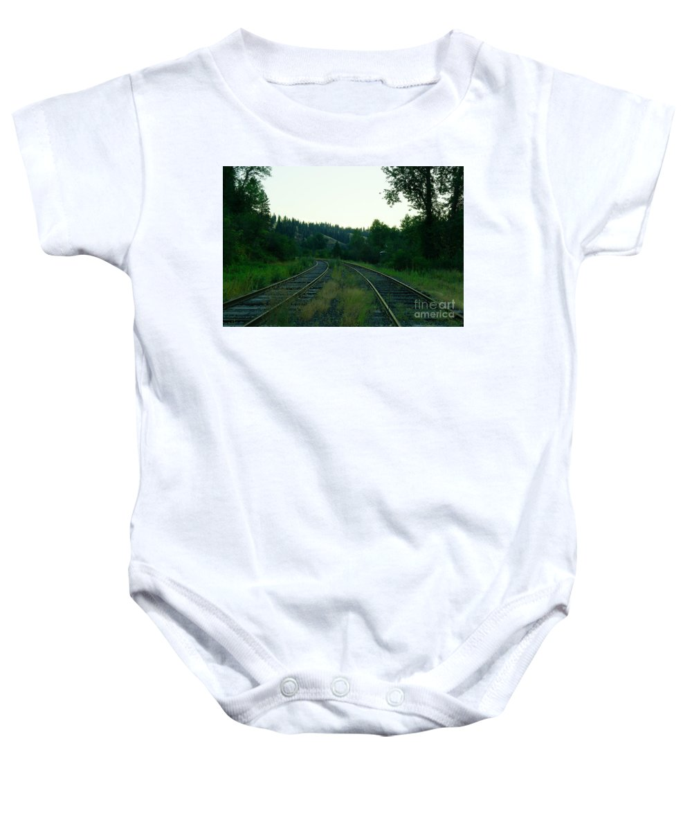 Ralroad Tracks Baby Onesie featuring the photograph Walking Old Tracks by Jeff Swan