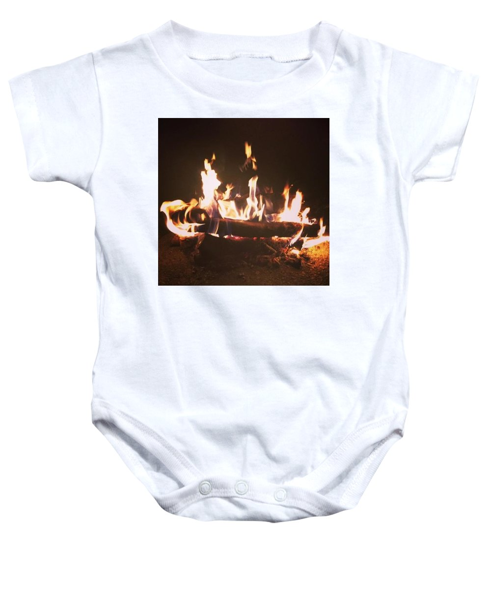 Fire Baby Onesie featuring the photograph Warmth Of The Night by Shaylea Teel