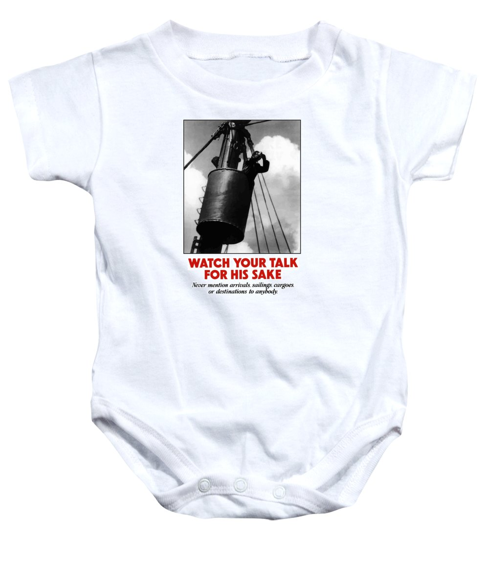 Sailor Baby Onesie featuring the painting Watch Your Talk For His Sake by War Is Hell Store