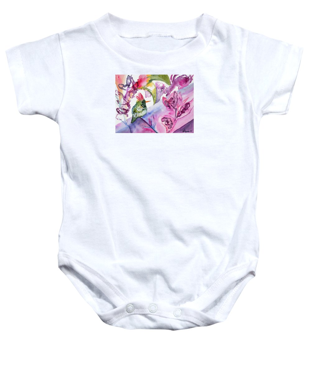 Art Baby Onesie featuring the painting Watercolor - Frilled Coquette Hummingbird With Colorful Background by Cascade Colors