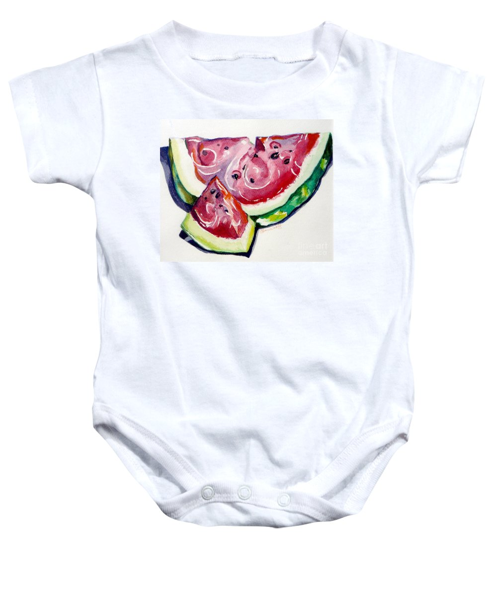 Still Life Baby Onesie featuring the painting Watermelon by Jan Bennicoff