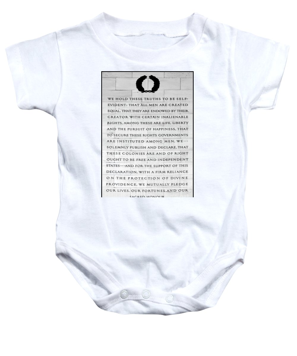 Declaration Of Independence Baby Onesie featuring the photograph We Hold These Truths.... by Allen Beatty