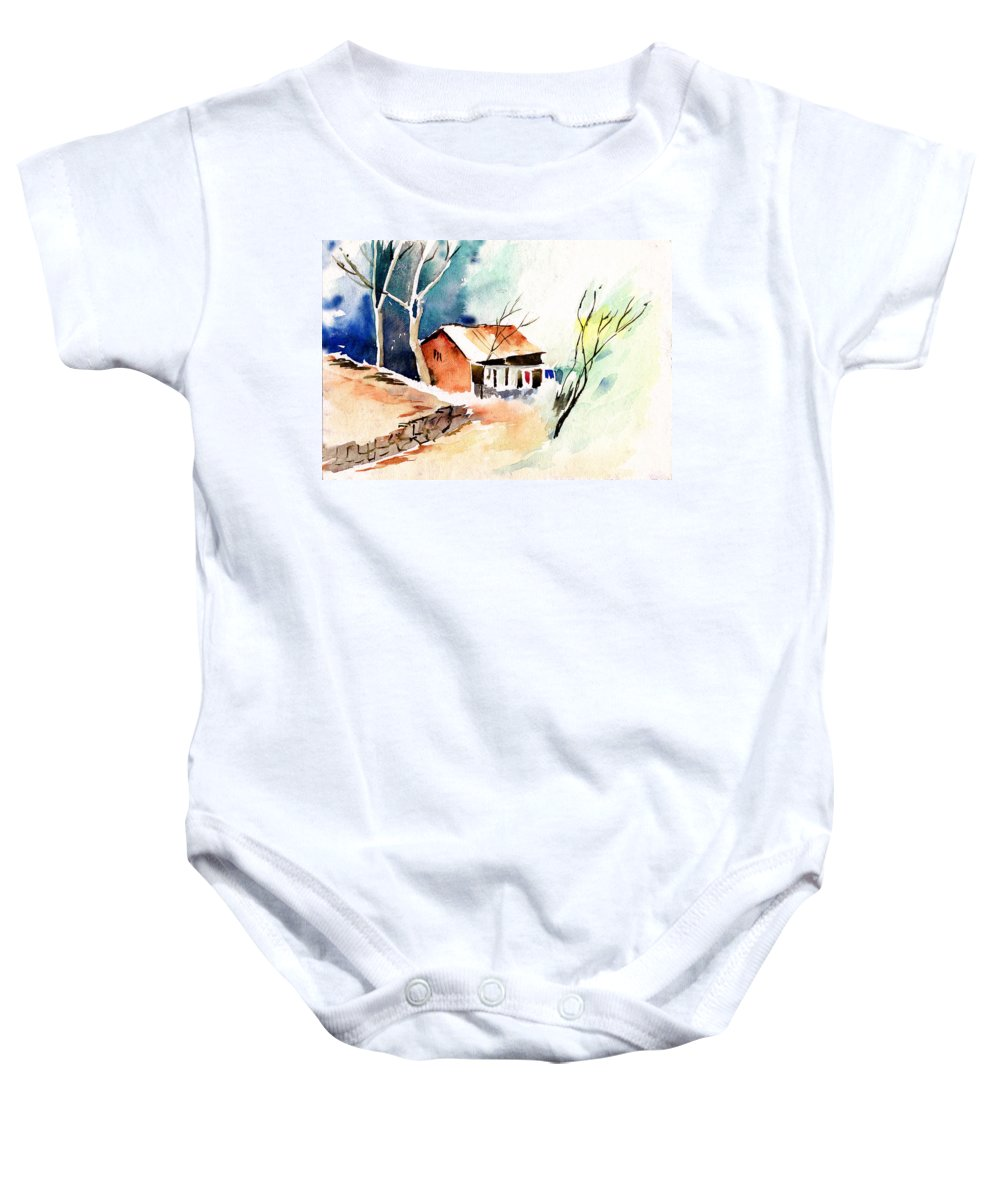 Nature Baby Onesie featuring the painting Weekend House by Anil Nene