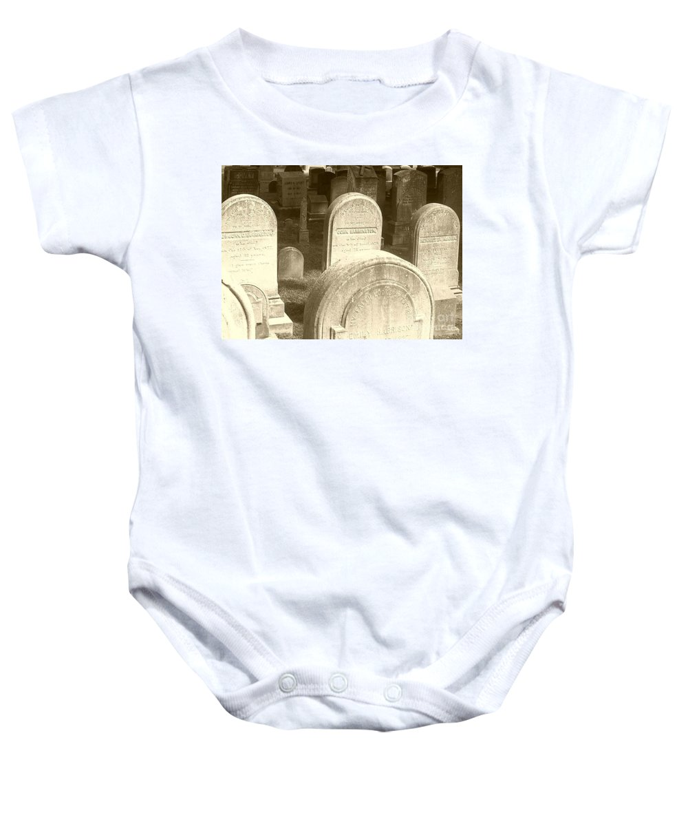 Cemetery Baby Onesie featuring the photograph Welcome by Debbi Granruth