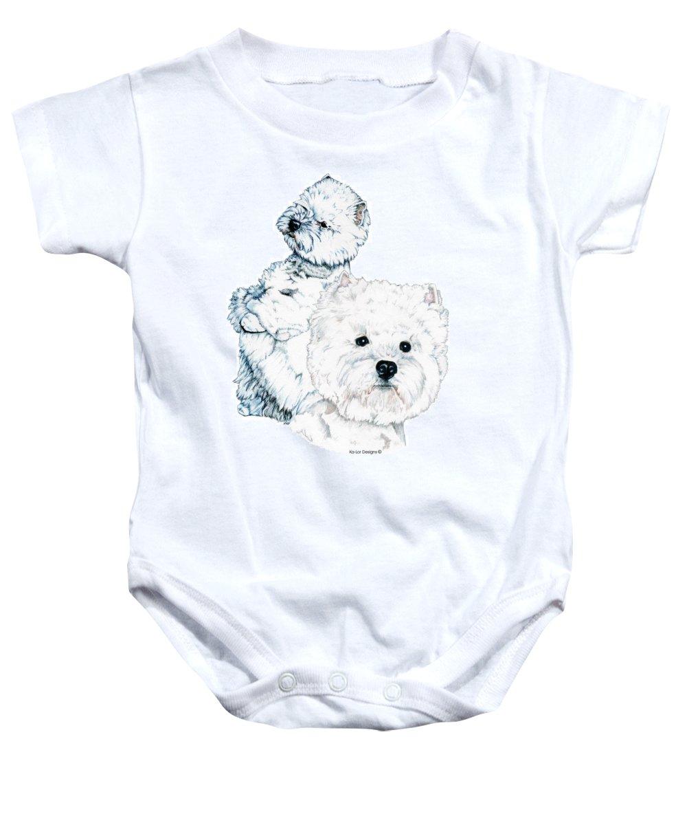 West Highland White Terrier Baby Onesie featuring the drawing West Highland White Terriers by Kathleen Sepulveda