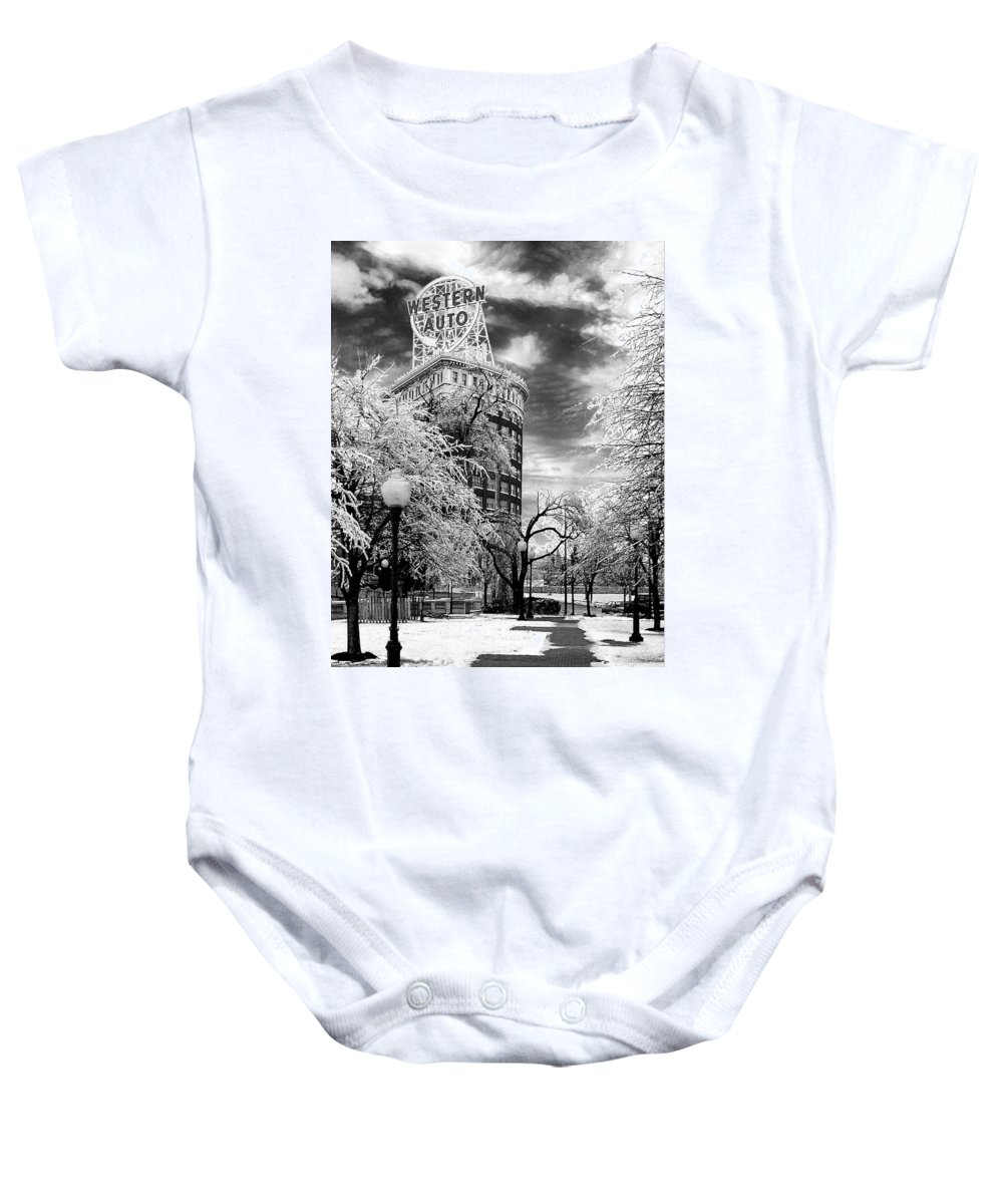 Western Auto Kansas City Baby Onesie featuring the photograph Western Auto In Winter by Steve Karol