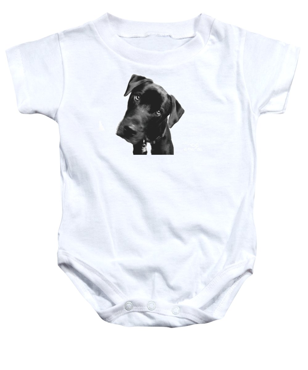 Labrador Baby Onesie featuring the photograph What by Amanda Barcon