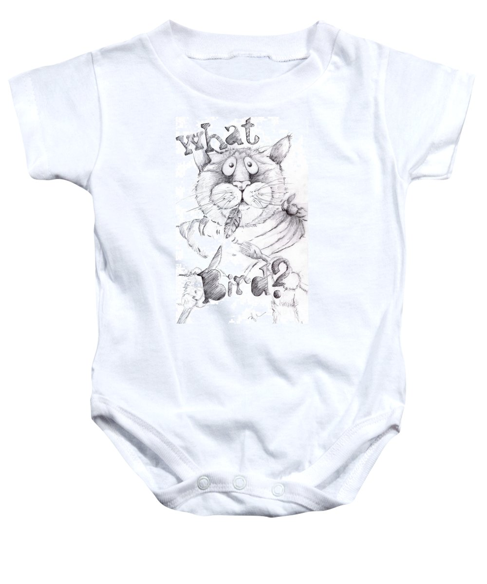 Charity Baby Onesie featuring the drawing What Bird by Mary-Lee Sanders